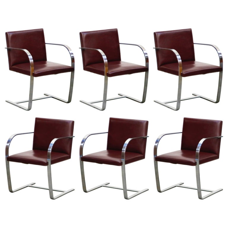 Knoll International Burgundy Leather 'Brno' Chairs by Mies van der Rohe, Signed For Sale