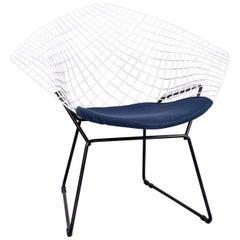 Knoll International Diamond Chair White Metal Blue Fabric