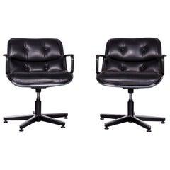 Knoll International Executive Chai Leather Armchair Set Black Chair