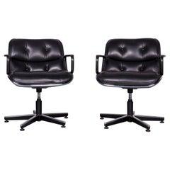 Knoll International Executive Chair Designer Leather Armchair Set Black Genuine
