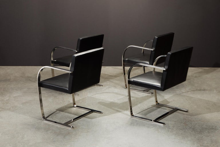 Knoll International Leather 'Brno' Chairs by Mies van der Rohe, 1987, Signed For Sale 3