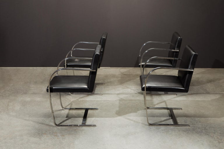 Knoll International Leather 'Brno' Chairs by Mies van der Rohe, 1987, Signed For Sale 4