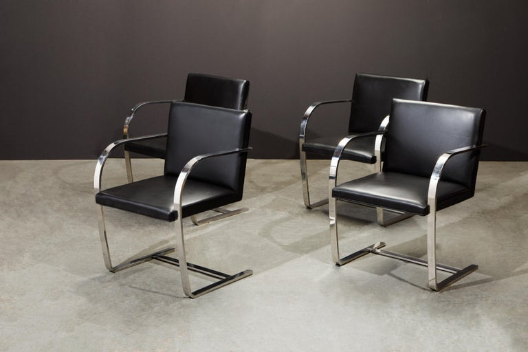 Knoll International Leather 'Brno' Chairs by Mies van der Rohe, 1987, Signed For Sale 5