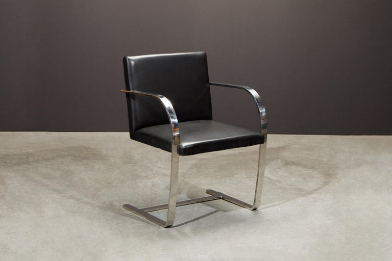 Knoll International Leather 'Brno' Chairs by Mies van der Rohe, 1987, Signed For Sale 6