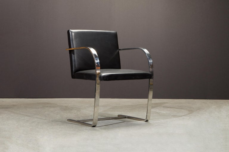 Knoll International Leather 'Brno' Chairs by Mies van der Rohe, 1987, Signed For Sale 7