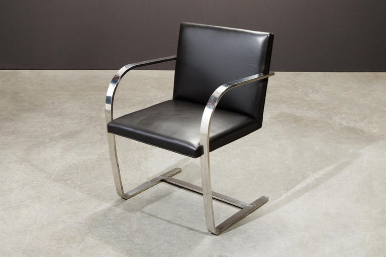 Knoll International Leather 'Brno' Chairs by Mies van der Rohe, 1987, Signed For Sale 8