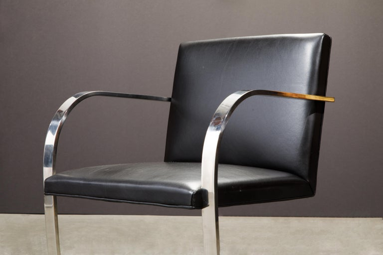 Knoll International Leather 'Brno' Chairs by Mies van der Rohe, 1987, Signed For Sale 9