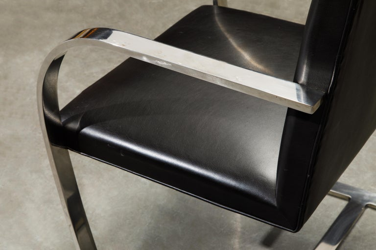 Knoll International Leather 'Brno' Chairs by Mies van der Rohe, 1987, Signed For Sale 10