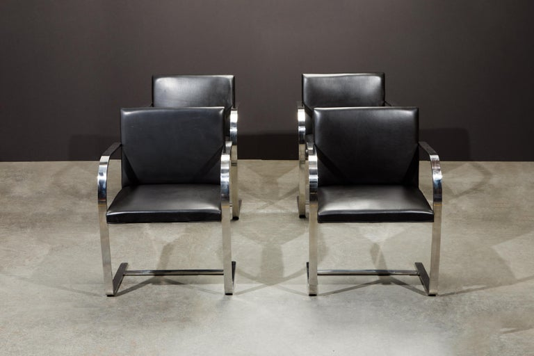 Mid-Century Modern Knoll International Leather 'Brno' Chairs by Mies van der Rohe, 1987, Signed For Sale