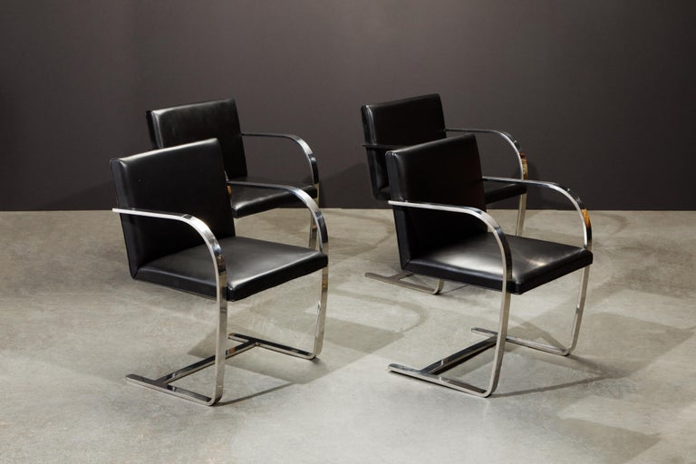 Knoll International Leather 'Brno' Chairs by Mies van der Rohe, 1987, Signed In Good Condition For Sale In Los Angeles, CA