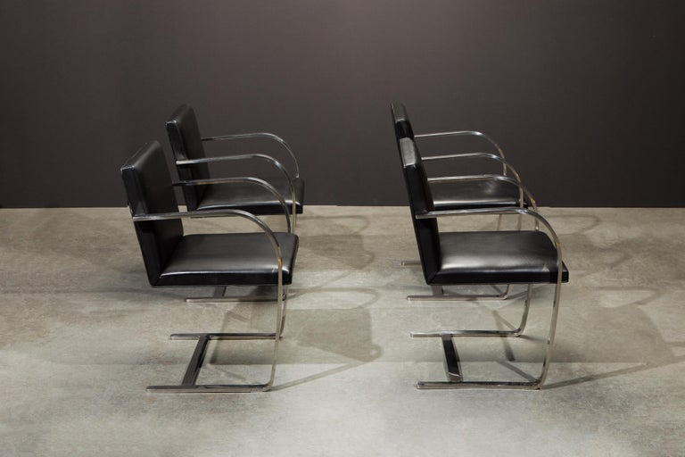 Late 20th Century Knoll International Leather 'Brno' Chairs by Mies van der Rohe, 1987, Signed For Sale