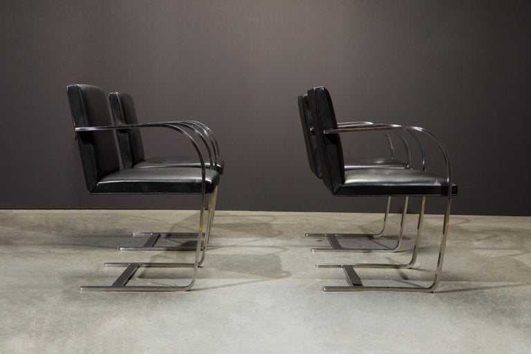 Stainless Steel Knoll International Leather 'Brno' Chairs by Mies van der Rohe, 1987, Signed For Sale