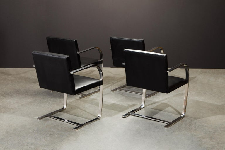 Knoll International Leather 'Brno' Chairs by Mies van der Rohe, 1987, Signed For Sale 1