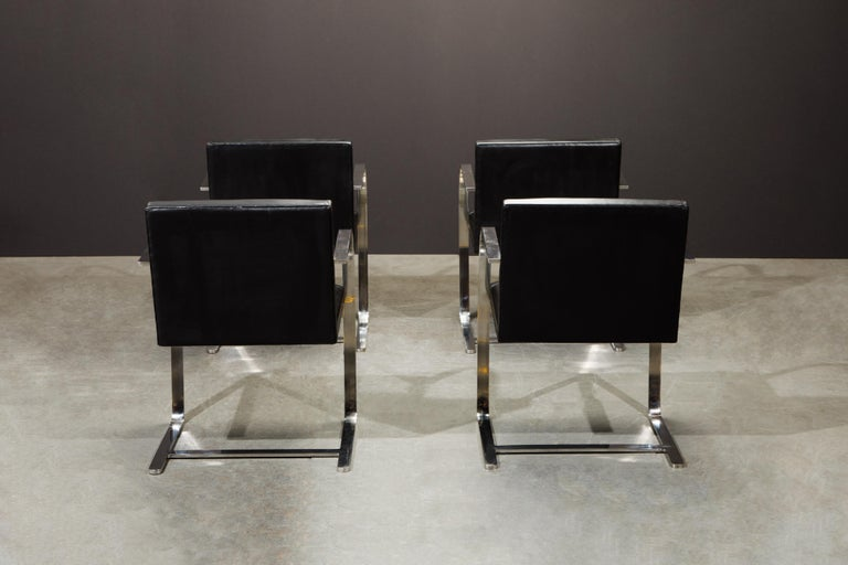 Knoll International Leather 'Brno' Chairs by Mies van der Rohe, 1987, Signed For Sale 2