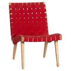 Knoll International Risom Lounge Chair Fabric Chair Red Armchair