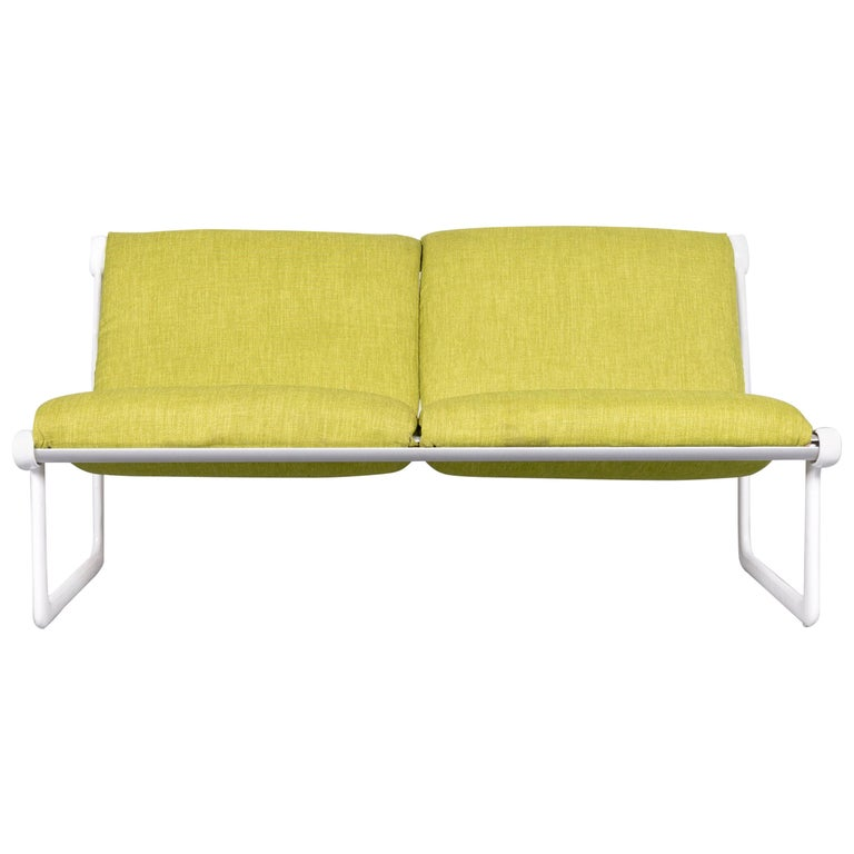 Knoll International Sling Designer Fabric Sofa Green Two-Seat Couch Bench