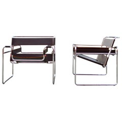 Knoll International Wassily Chair by Marcel Breuer Brown Leather Set of 2