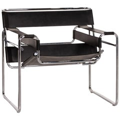 Knoll International Wassily Chair Leather Armchair Black Chair Marcel Breuer