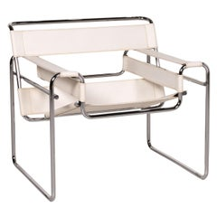 Knoll International Wassily Chair Leather Armchair White Chair Marcel Breuer