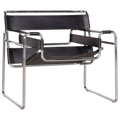 Knoll International Wassily Designer Leather Armchair Black by Marcel Breuer