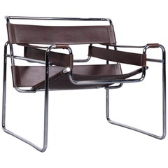 Knoll International Wassily Leather Armchair Brown Chair by Marcel Breuer