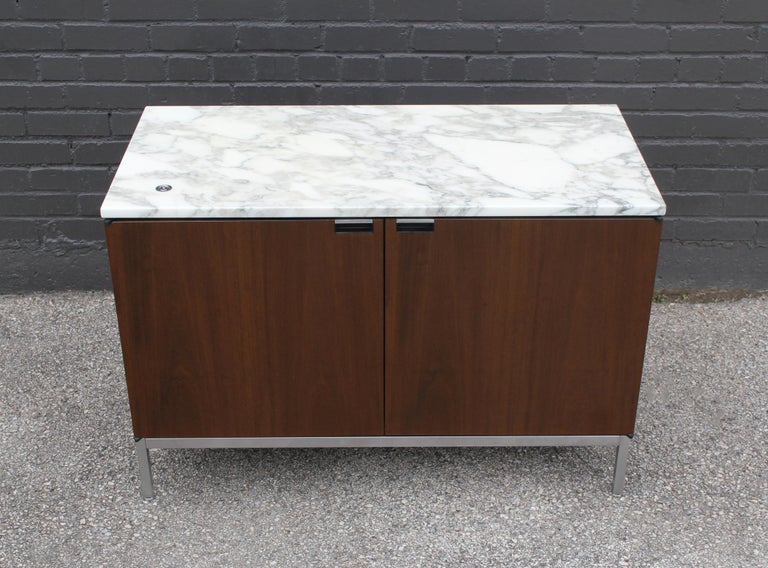 American Knoll Marble Top Credenza in Walnut and Calacatta Designed by Florence Knoll For Sale