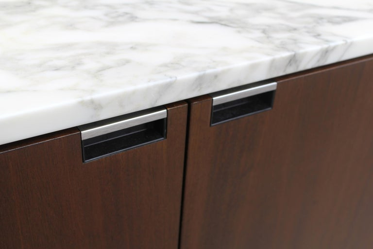 Contemporary Knoll Marble Top Credenza in Walnut and Calacatta Designed by Florence Knoll For Sale