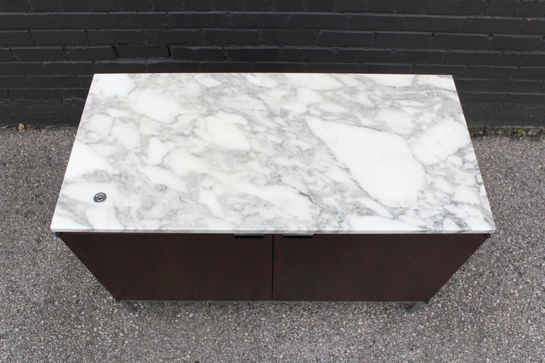Knoll Marble Top Credenza in Walnut and Calacatta Designed by Florence Knoll For Sale 2