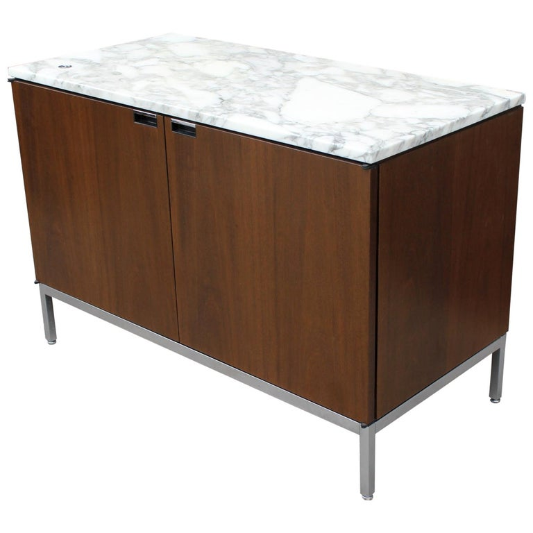 Knoll Marble Top Credenza in Walnut and Calacatta Designed by Florence Knoll For Sale