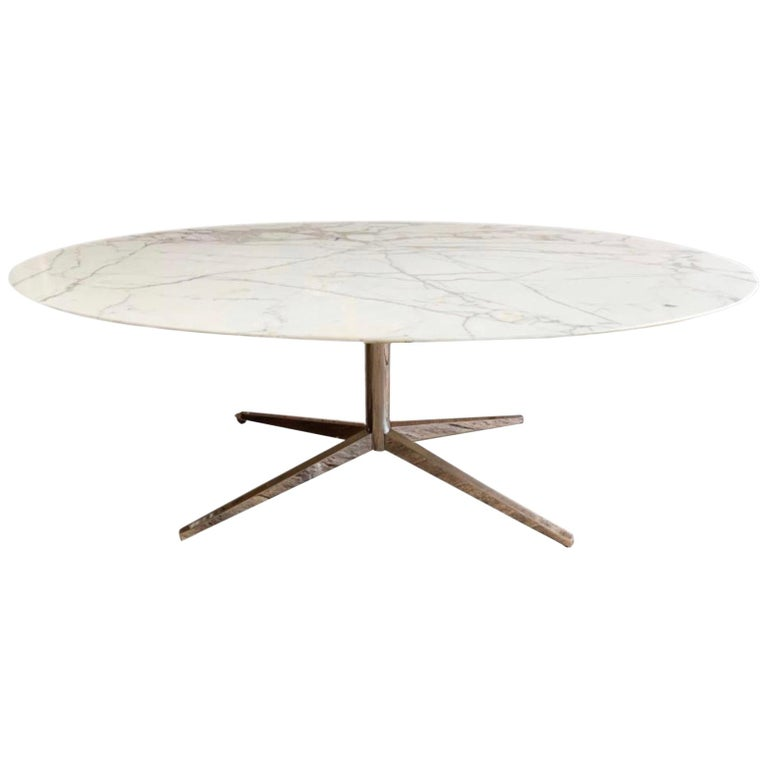 Knoll Marble Top Oval Dining Table For Sale