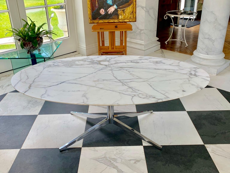 Knoll Marble Top Oval Dining Table For Sale 2