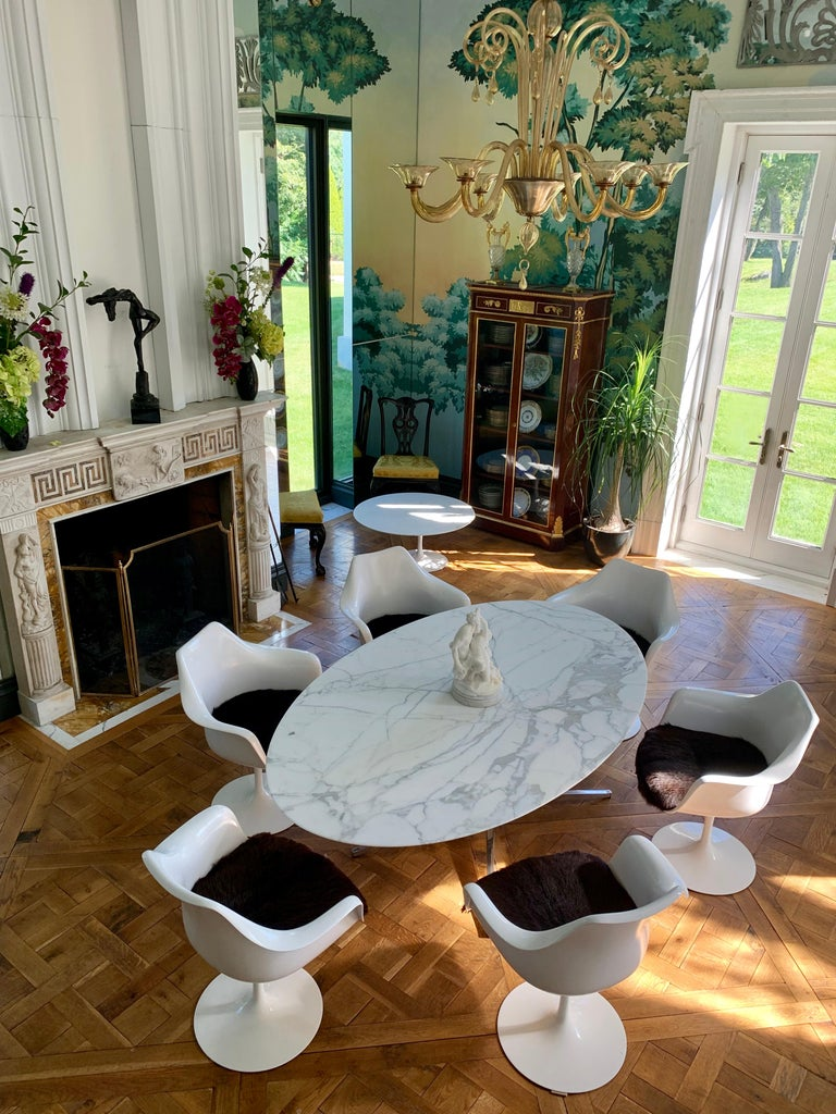 Knoll Marble Top Oval Dining Table In Good Condition For Sale In Manchester, MA
