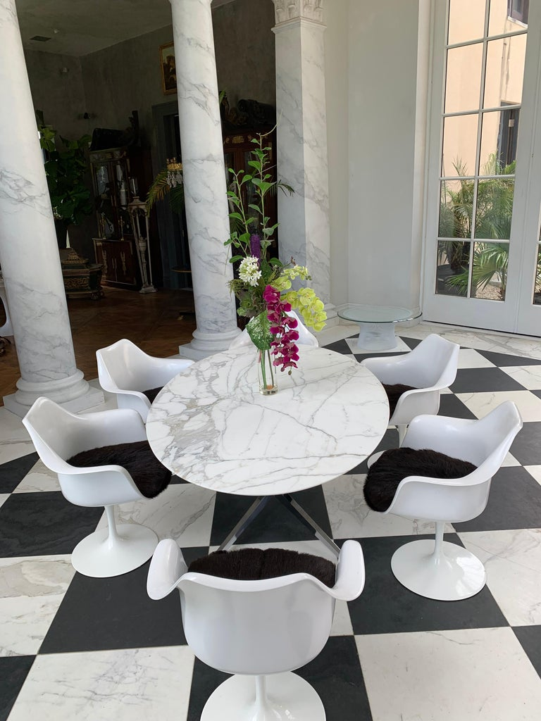 Carrara Marble Knoll Marble Top Oval Dining Table For Sale