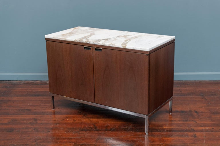 Knoll Style Marble Top Walnut Credenza In Good Condition For Sale In San Francisco, CA