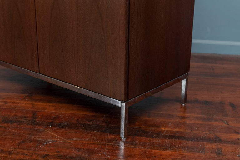 Contemporary Knoll Style Marble Top Walnut Credenza For Sale