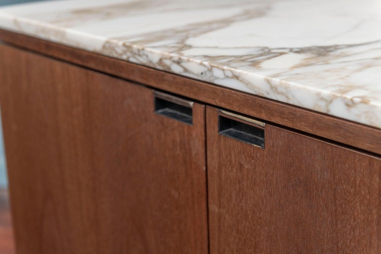 Knoll Style Marble Top Walnut Credenza For Sale 1