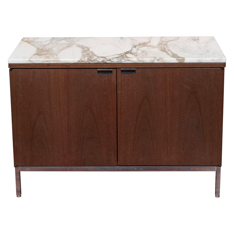 Knoll Style Marble Top Walnut Credenza For Sale