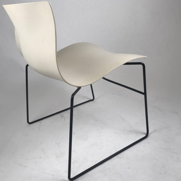 American Knoll Massimo Vignelli Handkerchief Stacking Chairs in Black & White 40 Avail For Sale