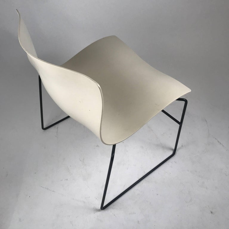 Molded Knoll Massimo Vignelli Handkerchief Stacking Chairs in Black & White 40 Avail For Sale