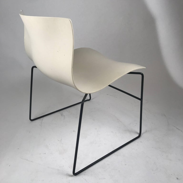 Knoll Massimo Vignelli Handkerchief Stacking Chairs in Black & White 40 Avail In Good Condition For Sale In Hudson, NY