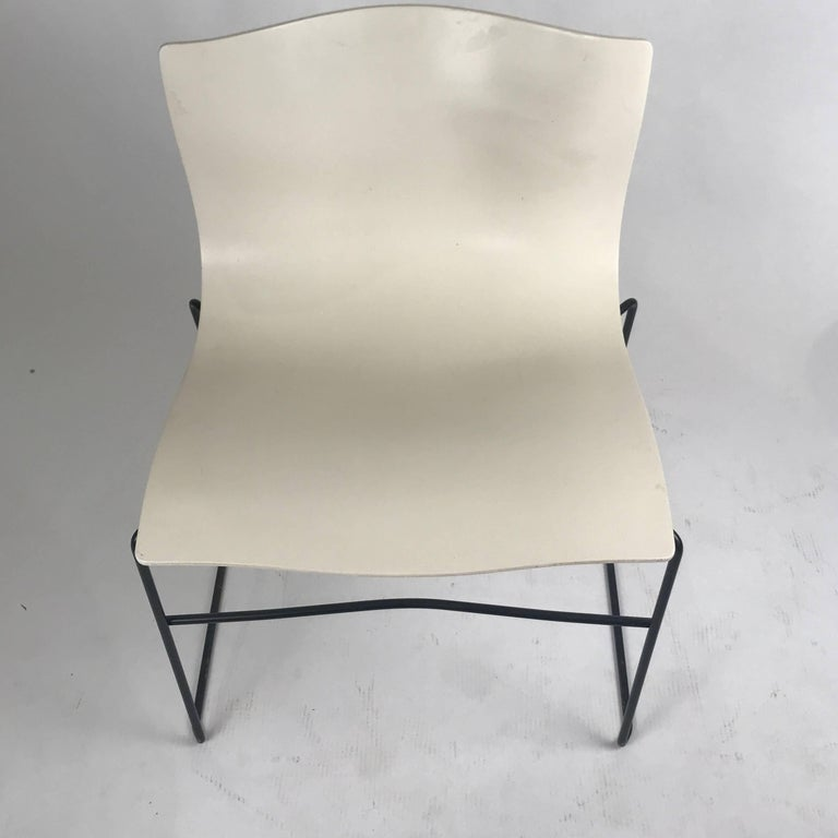 Knoll Massimo Vignelli Handkerchief Stacking Chairs in Black & White 40 Avail For Sale 1