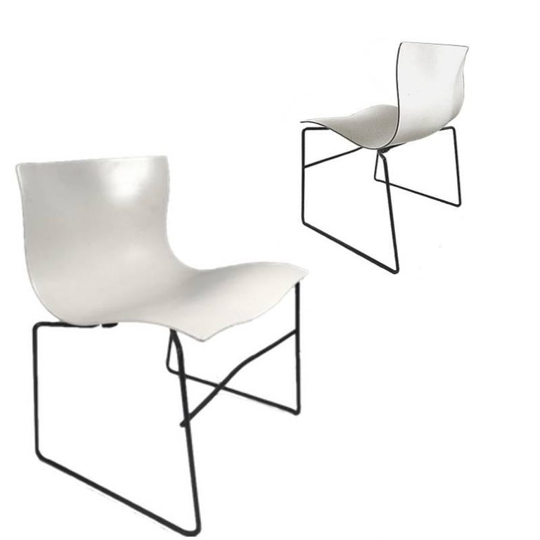 Knoll Massimo Vignelli Handkerchief Stacking Chairs in Black & White 40 Avail For Sale