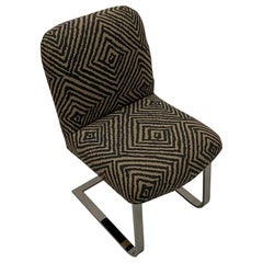 Knoll Mid-Century Modern Chrome Side Chair with Geometric Upholstery