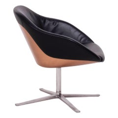 Knoll Mid-Century Modern Turtle Swivel Lounge Chair in Black Leather