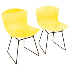 Knoll Mid Century Yellow Fiberglass Side Chair, Pair