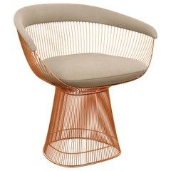 Knoll Platner Armchair in Ultrasuede/Pebble Upholstery & Rose Gold Base