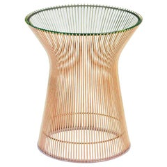 Knoll Platner Side Table, Glass Top & Satin Rose Gold Base