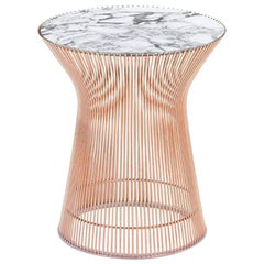 Knoll Platner Side Table, Satin Arabescato Marble & Satin Rose Gold Base