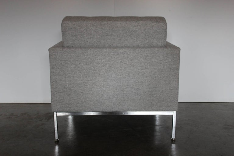 """On offer on this occasion is a rare, original """"Florence Knoll"""" lounge chair, from the world renown furniture house of Knoll Studio, dressed in a sublime, tactile woven-wool fabric, and with polished chrome framework.  Remarkably, this is one"""