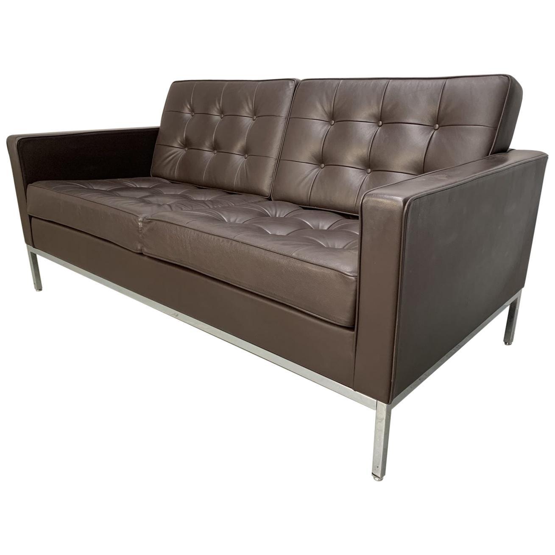 "Knoll Studio ""Florence Knoll"" Settee Sofa in ""Sabrina"" Mahogany Brown Leather"